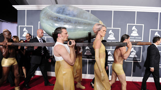 "It was the egg, and after hatching from and being ""Born"" onstage, Lady Gaga"